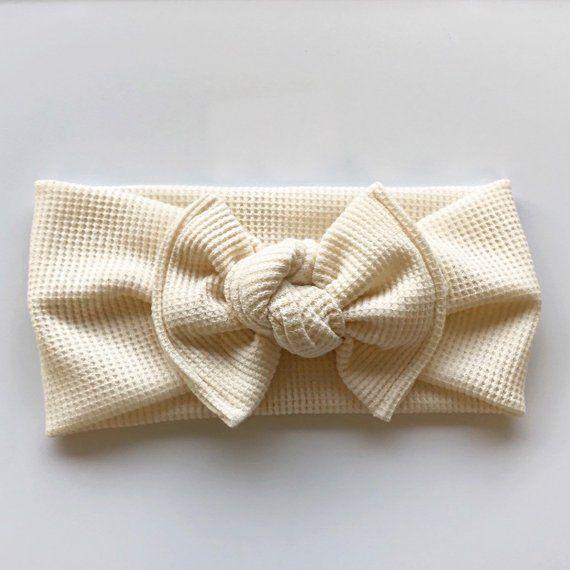 cotton knot,bow Organic cream headband baby girl headband
