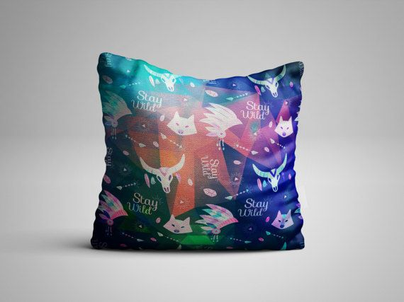 Throw Pillow - Colorful Stay Wild Scandinavian Design- Nordic Pattern Pillow with insert - Seamless Pattern Decorative Pillow