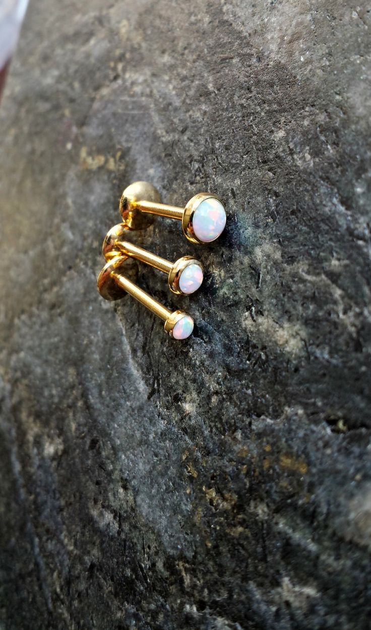 "16g (1.2mm) 14kt Gold Plate - WHITE FIRE Opal - 3mm 4mm or 5mm (5/16"" / 8mm) Labret Lip Medusa Monroe Cartilage Jewelry Barbell Piercing by FeatherBlueJewelry on Etsy https://www.etsy.com/listing/245565796/16g-12mm-14kt-gold-plate-white-fire-opal"
