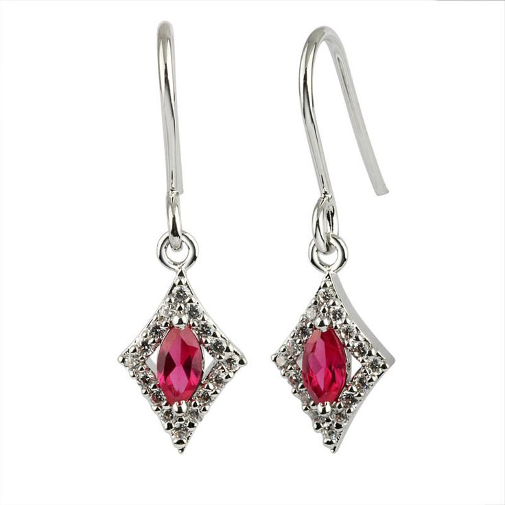 Ruby Style CZ Sterling Silver Drop Earrings $29 - purejewels.com.au