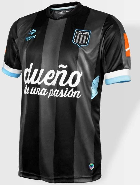 Racing Club away football shirt 2014.  The new Racing Club 2015 Home Kit comes four sky blue and three white stripes on the front.  The slogan 'El primer grande' (The first great) is present  inside of the shirt as well as on the left shoulder.  24 stairs are the one that have the Racing club shirt has.   With this shirt racing club won the tournament.
