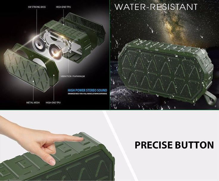 Portable Bluetooth Speaker Waterproof 2 Loud Speakers with Strong Bass Stereo