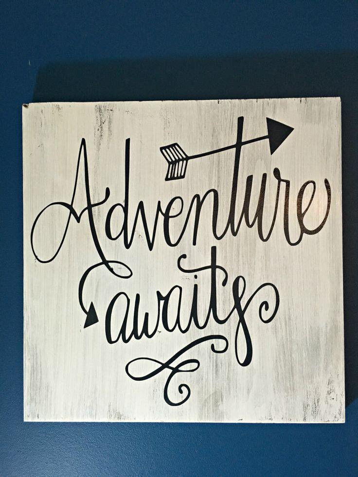 12'' x 12'' - Adventure Awaits - White and Navy - Rustic Decor - Coastal Sign - Adventure Quote - Wood Wall Decor - Birthday Gift - Wedding by BradshawStreetDesign on Etsy https://www.etsy.com/listing/292415495/12-x-12-adventure-awaits-white-and-navy