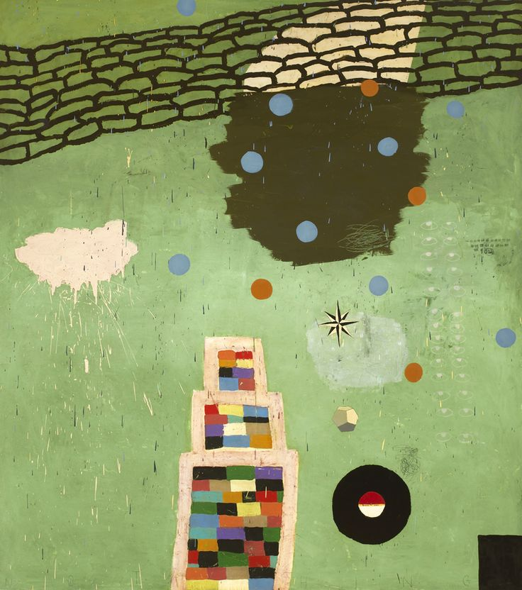 Something by Squeak Carnwath, 2008, oil and alkyd on canvas over panel, 90 x 80"