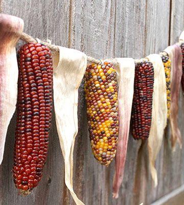 Indian corn and shuck garland...