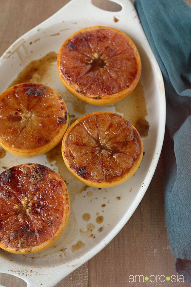 broiled grapefruit with brown sugar and cinnamon...this looks yummy..makes me want to try grapefruit!