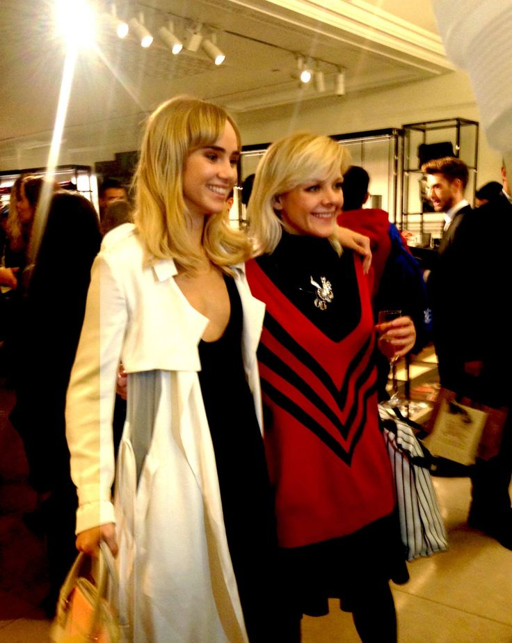 British model Suki Waterhouse enjoys #FNO at @burberry in #RegentStreet with Francesca Burns of @britishvogue