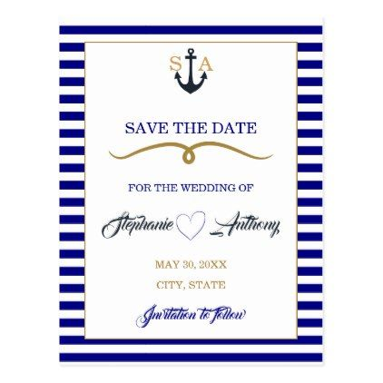 Navy Blue Deep Sea and Gold Nautical Wedding Postcard - gold wedding gifts customize marriage diy unique golden