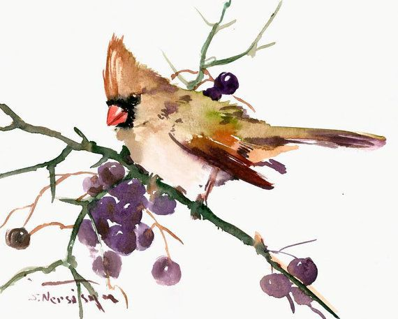 Female Bird cardinal original watercolor painting 10 x 8 in deep purpple olive green wall art, cardinal bird painting christmas
