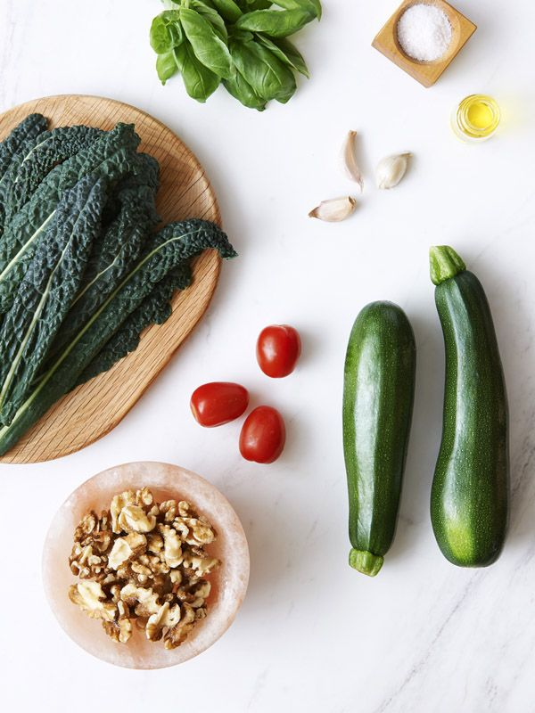 Tasty Tuesday · Beautifying: Raw Zucchini Pasta with Walnut, Basil and Kale Pesto