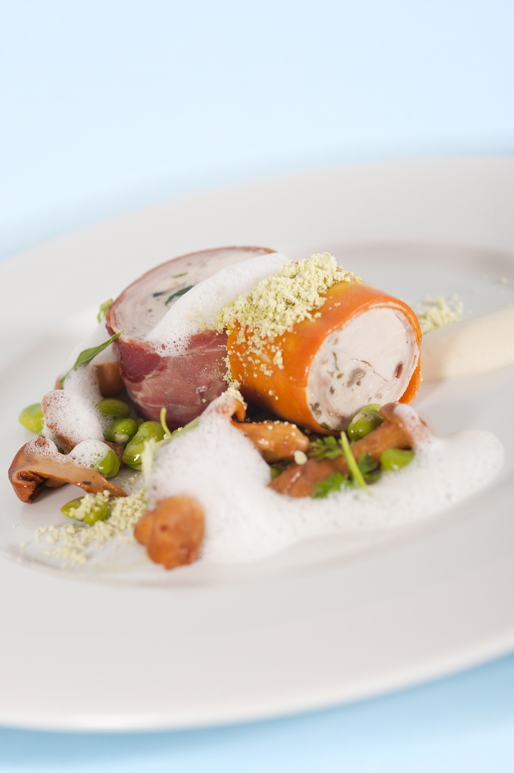 Poached Stuffed loin of Rabbit – Girolles – Broad Beans – Garlic – Basil