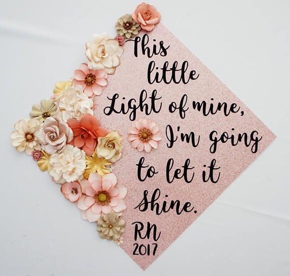 Graduation Cap Topper This Little Light of Mine Graduation Decoration Flowers Glitter customize colors saying Graduation Cap Topper