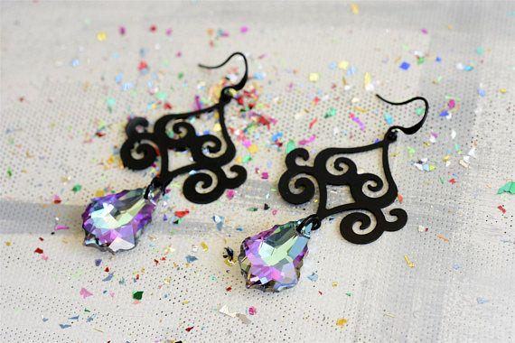 Black earrings, Black dangle earrings, Black drop earrings, Swarovski drop earrings, Statement earrings, Black statement earrings  #uniquedesign #designerearrings #dropearrings