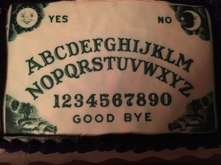 I printed off this ouija board picture and then took it to Walmart who added it to a cake for $19.99!