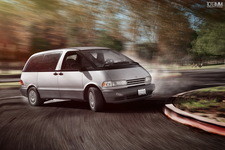 Toyota Previa - drifting like a boss. Mid-engined, All Wheel Drive and Supercharged version is the best.