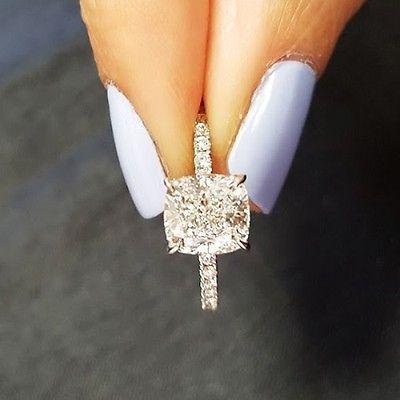 Huge-4-02Ct-Cushion-Cut-Round-Accents-Diamond-Engagement-Ring-H-VS1-EGL-Platinum