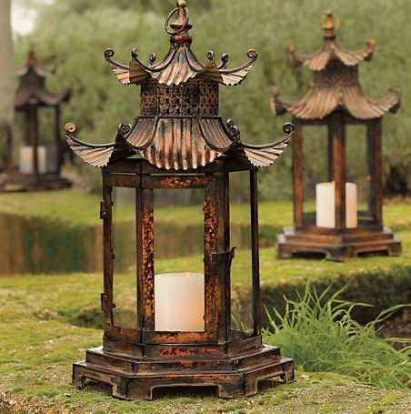 Chinoiserie Chic: Candle Pagoda Hurricane Lanterns   ...  one of these and one co-ordinating