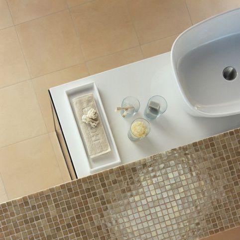 Bathroom tile / for floors / ceramic / plain MOS PLATINO Cimenterie de la Tour