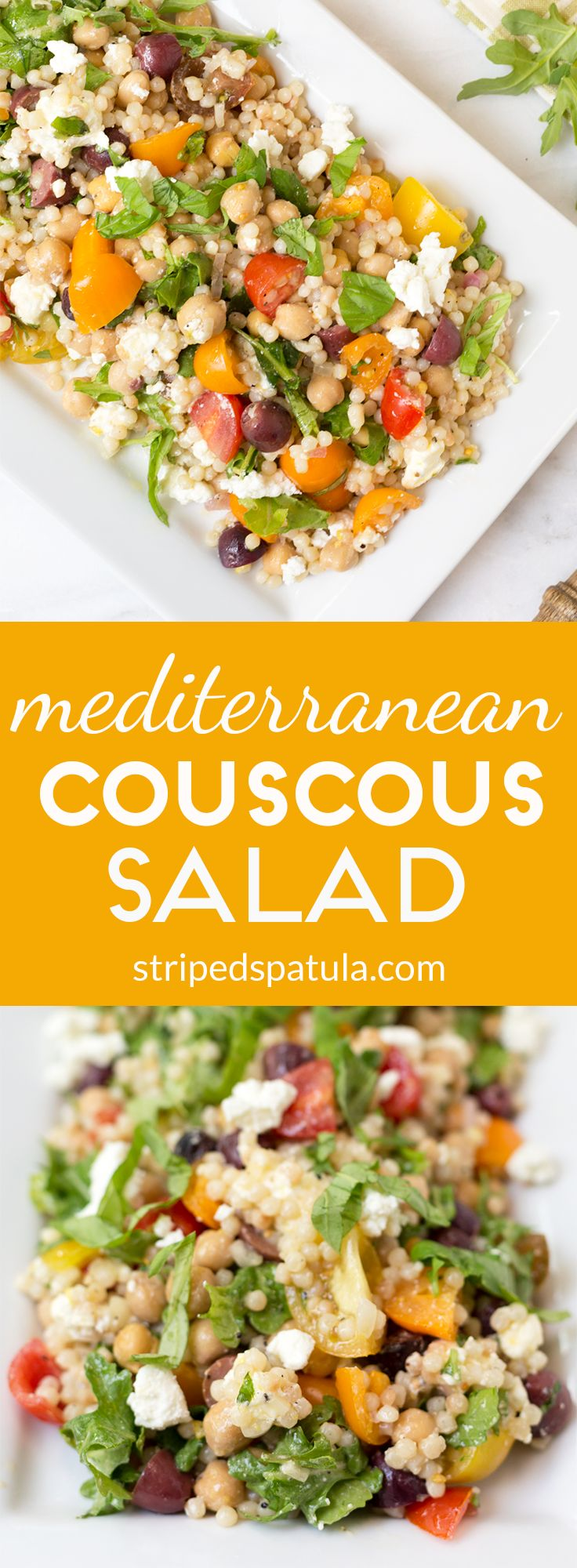 This couscous salad is a bright and fresh side dish or meatless main dish that's perfect for a weeknight dinner or easy summer entertaining!: