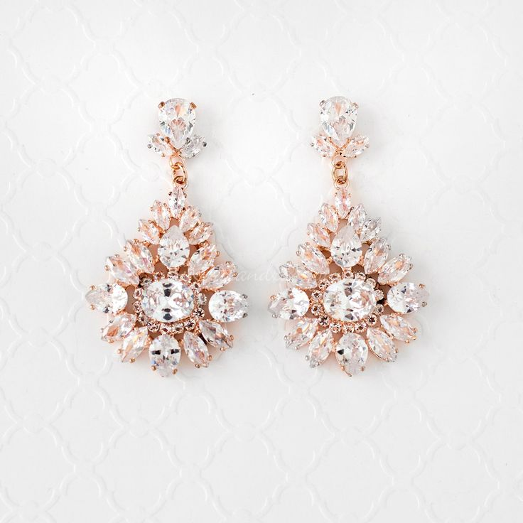 Vintage Bridal Earrings with Cubic Zirconia Rose Gold