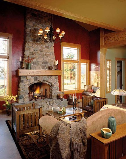 17 best images about arts and crafts decor on pinterest for Fieldstone fireplace