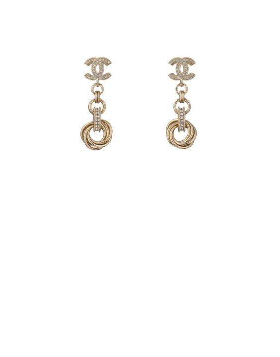 Boucles d'oreilles, métal & strass-doré & transparent - CHANEL