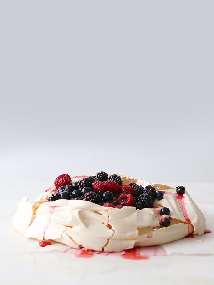 Basic Pavlova with Macerated Berries