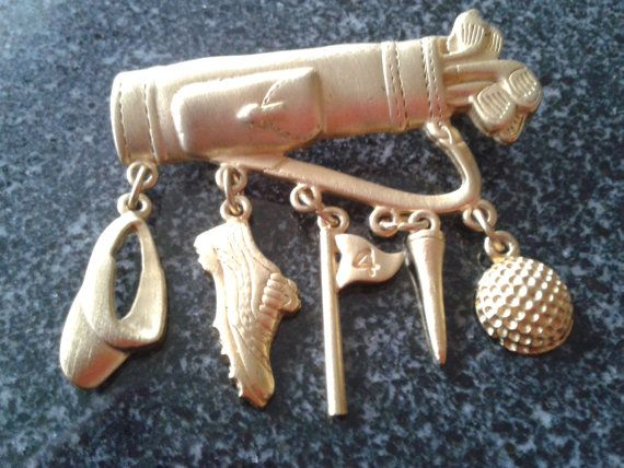 Vintage Hallmarked JJ Golf Bag Charms Brooch Pin by themagickcat