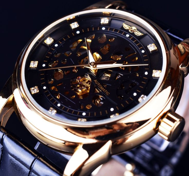 17 best images about places to skeleton find more casual watches information about winner royal diamond design black gold watch montre homme mens