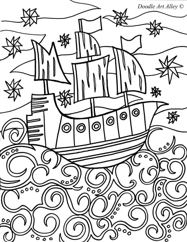pirate coloring page - Sunken Pirate Ship Coloring Pages