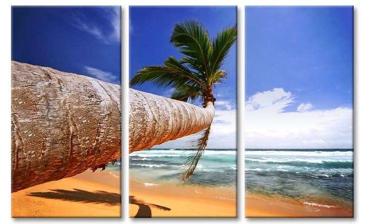Drieluik canvas schilderij palmboom op strand.