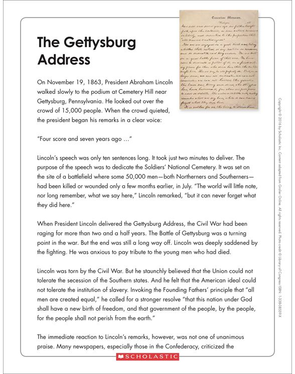 The Gettysburg Address Text Organizer Printable Graphic