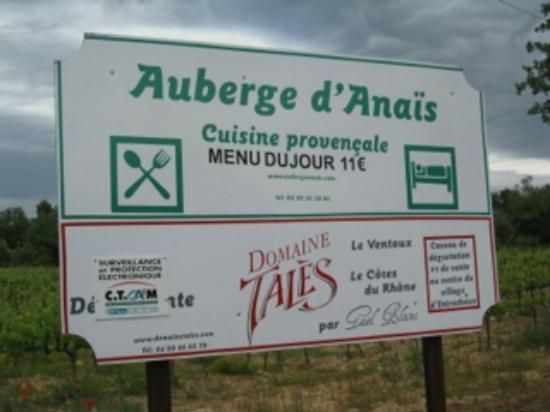 l'Auberge d'Anais, Entrechaux: See 74 unbiased reviews of l'Auberge d'Anais, rated 4 of 5 on TripAdvisor and ranked #3 of 4 restaurants in Entrechaux. Recommended high quality low cost restaurant.