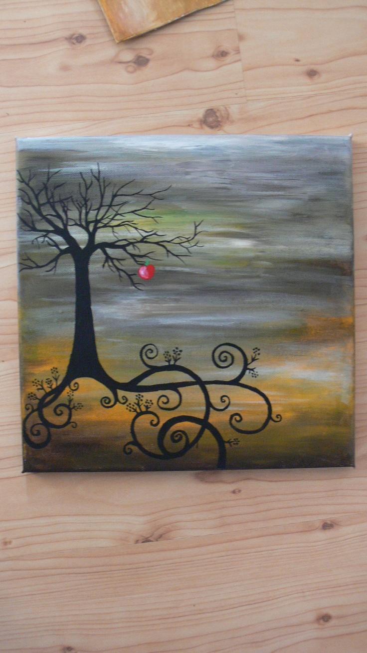 strom snů malba na plátno akrylovými barvami, velikost plátna je 29,5X29,5