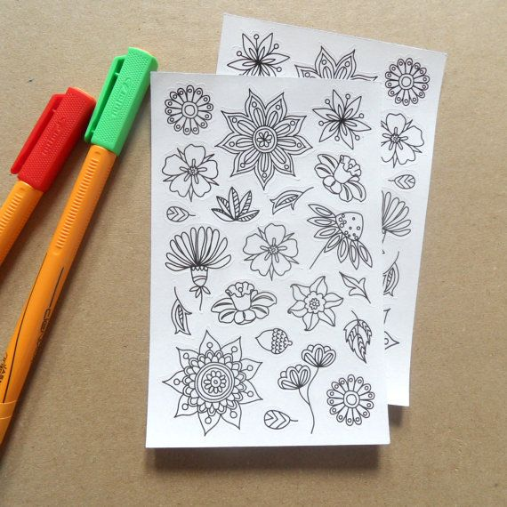 Look at this amazing new item by AnnaGrundulsDesign! It's available now on Etsy make sure to save this pin for later when you're looking for gift ideas ;) adult colouring stickers planner stickers cool stickers flower stickers flower colouring page mandala stickers white stickers by AnnaGrundulsDesign