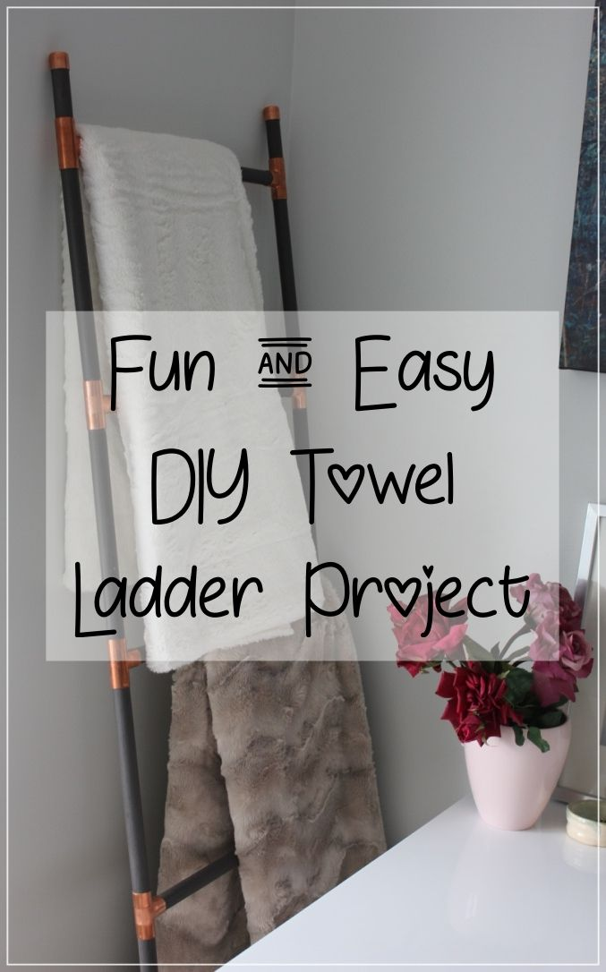 I love this the look of this grey wood and copper blanket/towel ladder DIY, gorgeous!