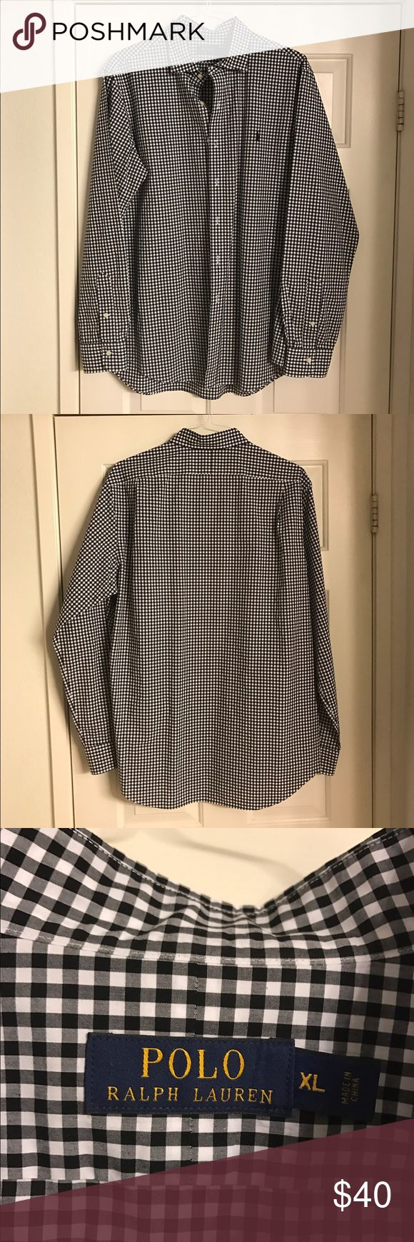 Polo Ralph Lauren Men's Shirt Polo Ralph Lauren black and white checkered shirt with black polo horse logo, XL Polo by Ralph Lauren Shirts Dress Shirts