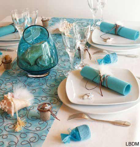 Exemple décoration de table mariage thème mer
