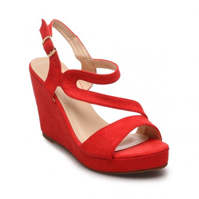 Sandales compensées rouges suédine