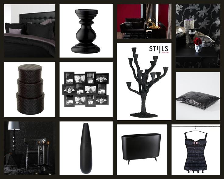 Trend: Black Out. Bij deze trend is het interieur zwart, duister en mysterieus en het meubilair heeft een luxe uitstraling. Naast zwart worden voornamelijk donkere kleuren zoals rood, paars en metallic gebruikt. Producten in deze afbeelding zijn te vinden op www.stijls.nl.