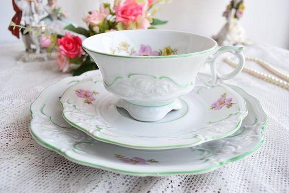 Vintage Porcelain Tea Cup Set Triptis Germany Vintage Porcelain