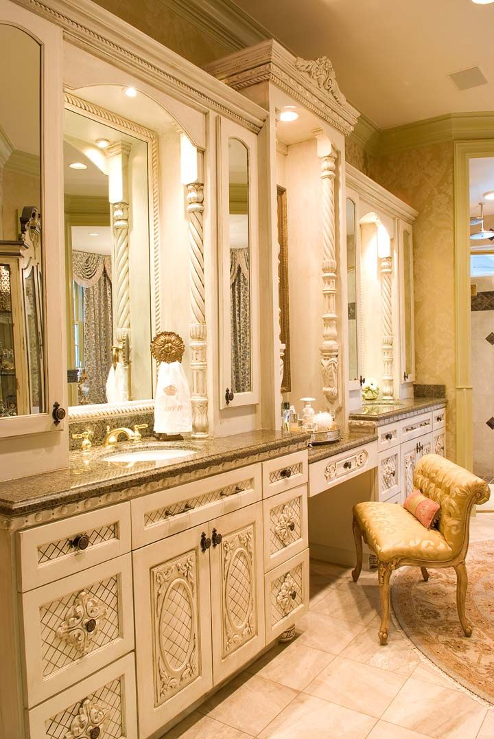 A Parisian-style, Yet Livable Palace - Master Bathroom with luxurious cabinetry - Knotting Hill Interiors