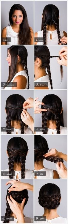 a braided updo - step by step.  I remember seeing this hairstyle on the Josephina American Girl Doll about 7 years ago. I've been trying to find it for so long!