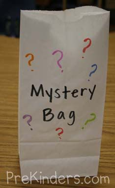mystery letter bag-Three objects beginning with the same letter are placed in a bag. The leader pulls each item out of the bag, names each item, and the class guesses the mystery letter.