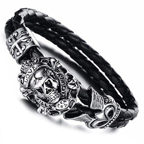 Bracelet en acier inoxydable et en cuir tressé Motif tête de mort