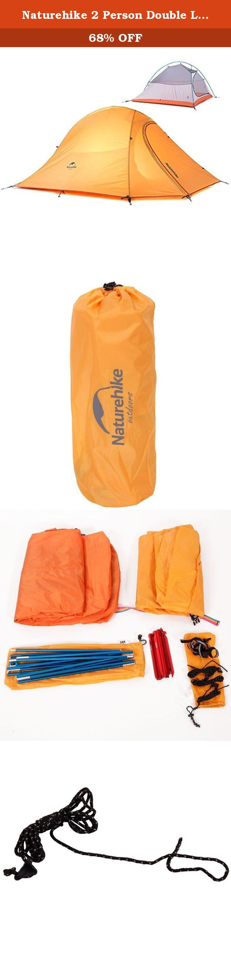 Naturehike 2 Person Double Layer Tent with Carry Bag for Camping Hiking Travel and More Lightweight Tent Light Orange. Item Specifications: 1. Inner space is large enough to sleep two people 2. Built with a hanger in the middle of tent for camp lamp and a mesh pocket for those of your small stuff 3. Material: Aluminum & Silica Gel 4. Tent Spatial Structure: Two Bedroom 5. Function: Warm, Ultra-Low Weight, Thin, Cycling 6. Color: Orange 7. Weight: 52.56oz / 1490g 8. Expand Dimensions…