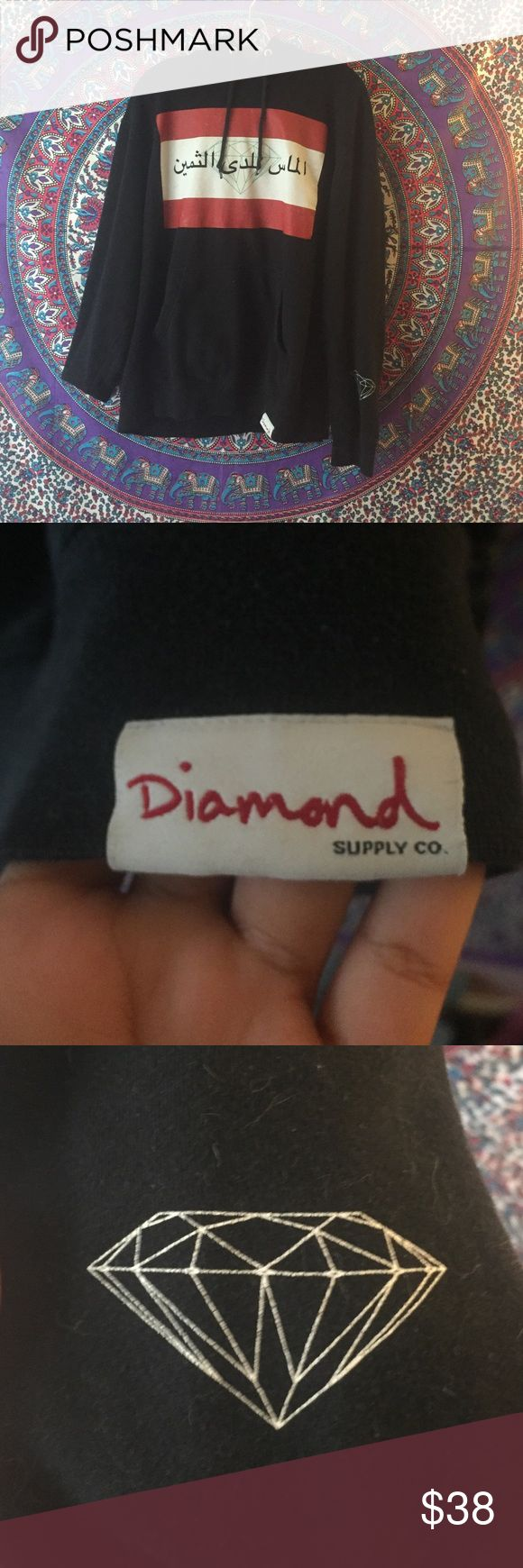Diamond Supply Company diamond supply co. authentic pullover hoodie. rare, no longer sold. Arabic writing. has some cracking. barley worn, has no stains or pulling. size large but would also would fit good on a medium (i am a medium and fit fine) and on a small it would fit like an oversized sweatshirt. pretty dope. unisex. use offer button Diamond Supply Co. Sweaters