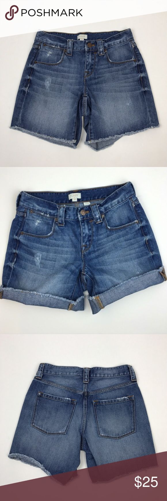"[J Crew Factory] Cuffed Denim Shorts Cutoff Long J Crew Factory Denim Shorts. Sits just above hip. Frayed edges. Can be worn long or cuffed. Relaxed fit.  🔹Waist: 13"" 🔹Hips: 17"" 🔹Rise: 7.5"" 🔹Inseam: 6"" 🔹Condition: Excellent pre-owned condition. Distressed by design.  *BB18 J. Crew Shorts Jean Shorts"