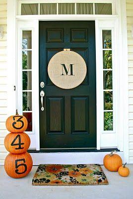 Front DoorIdeas, The Doors, Fall Decor, Black Doors, Decor Pumpkin, Fall Doors, Front Doors, Embroidery Hoop, House Numbers