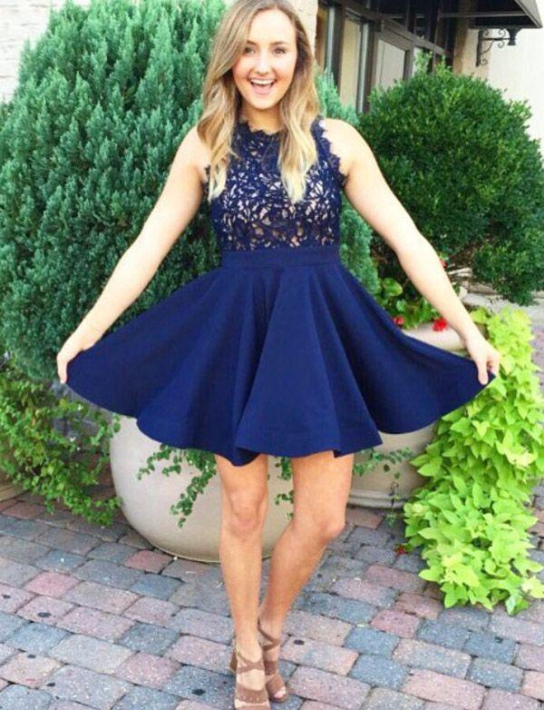 58839564745 Elegant A-Line Jewel Navy Blue Short Homecoming Graduation Dress   homecomingdresses  shorthomecomingdresses  navybluehomecomingdresses   graduationdresses